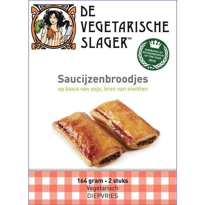 De Vegetarische Slager Roomboter Saucijzenbroodjes 2 Stuks 164g (2 × 164g)