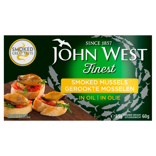 John West Gerookte Mosselen in Zonnebloemolie 85 g (85g)
