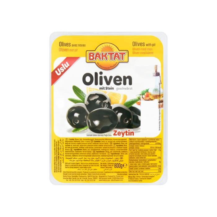 Baktat Zwarte Olijven met Pit 800g (800g)