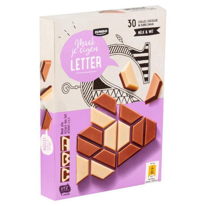 Jumbo Chocoladeletter Maak Je Eigen Letter Melk & Wit 30 Stuks 180g (180g)