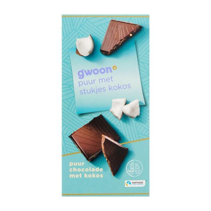 g'woon Chocoladereep puur kokos (100g)