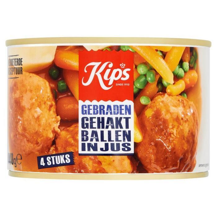 Kips Gehaktballen in jus -  4 stuks 200 gr. (blik, 440g)