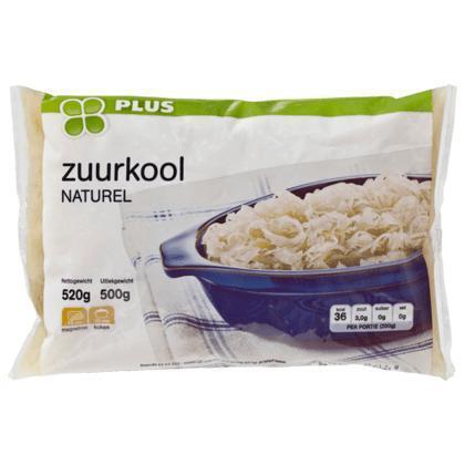 Zuurkool, naturel (zak, 500g)