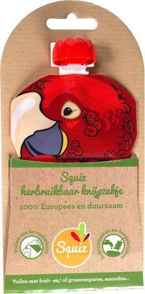Hervulbare knijpzakje papegaai (130ml)