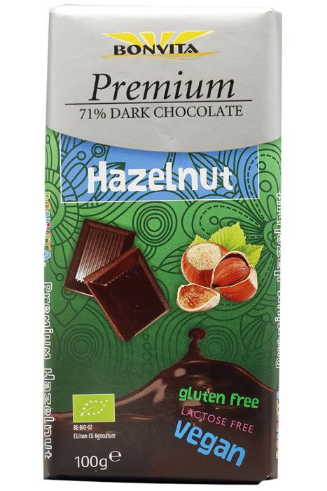 Hazelnoot 71% Dark chocolate (100g)