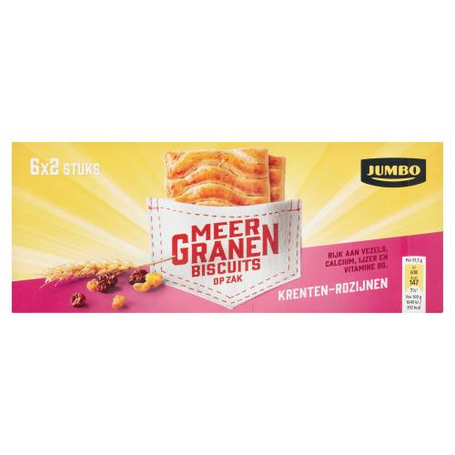 Jumbo Meergranenbiscuits op Zak Krenten-Rozijnen 6 x 37,5 g (6 × 37.5g)
