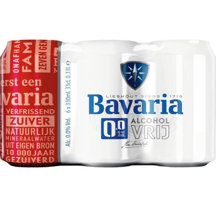 Bavaria 0.0% Original blik pils alcoholvrij bier (6 × 33cl)