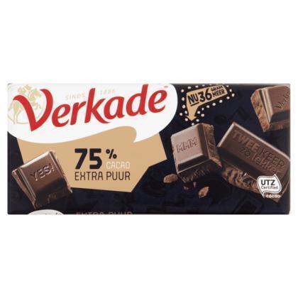 Verkade Extra puur 75% chocoladereep (111g)