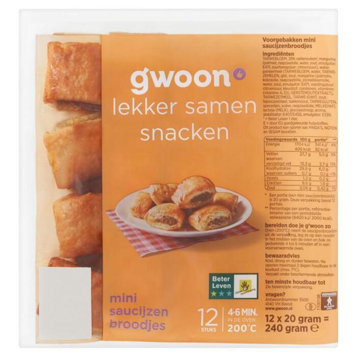 g'woon Saucijzenbroodjes mini (12 × 240g)