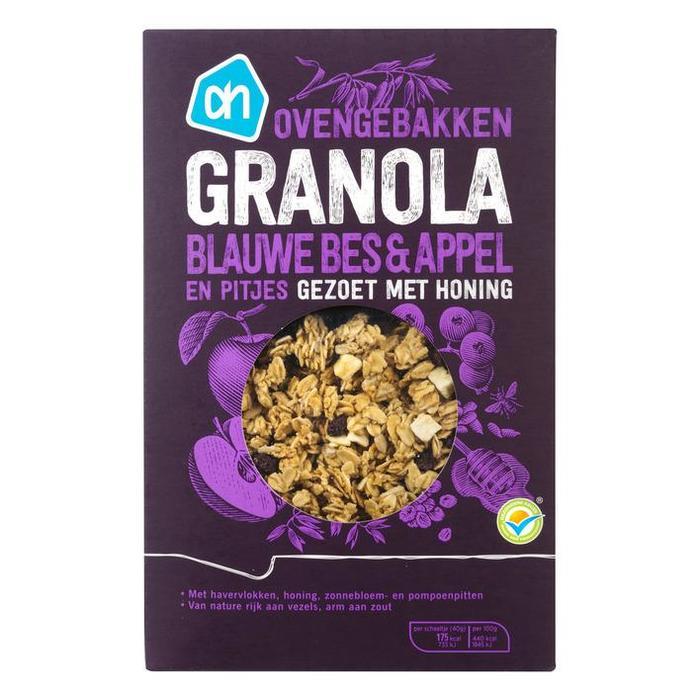 Granola blauwe bes & appel (doos, 350g)