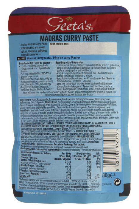 Geeta's Curry paste madras (80g)