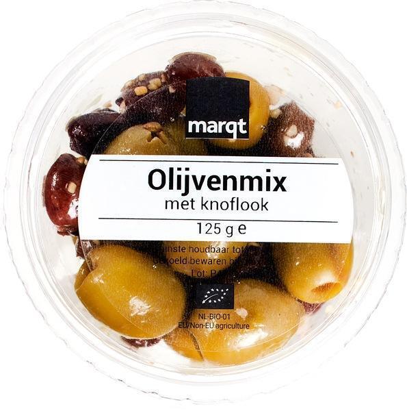 Olijvenmix met knoflook (125g)