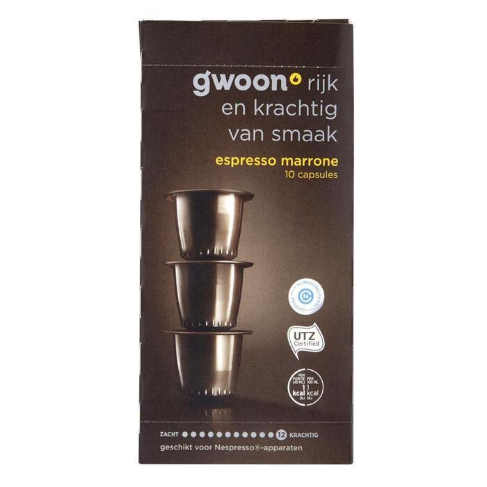 g'woon Espresso marrone capsules sterkte 12 (10 × 5g)