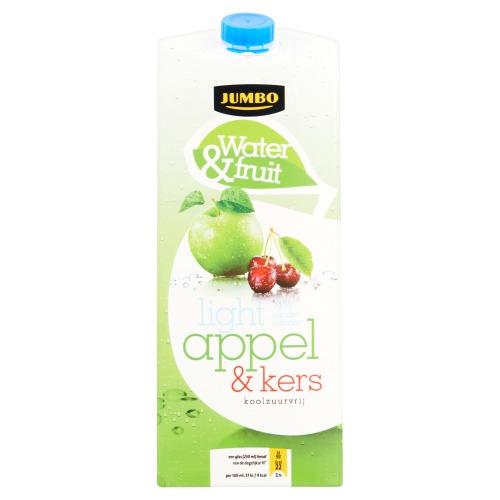 Jumbo Water & Fruit Light Appel & Kers Koolzuurvrij 1500ml (pak, 1.5L)