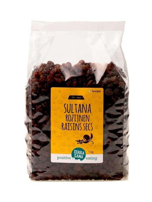 RAW Rozijnen Sultana's -voordeelpak- TerraSana 1kg (1kg)