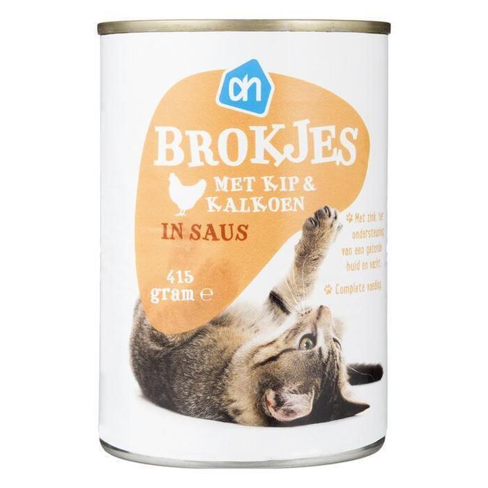 AH Brokjes kip-kalkoen (voor de kat) (410g)