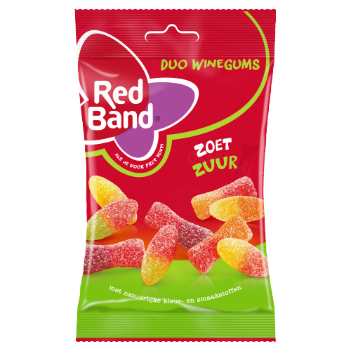 Red Band Duo winegums zoetzuur (166g)
