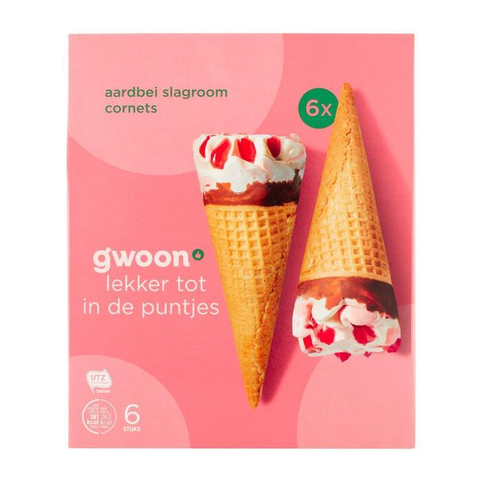 g'woon Cornets aardbei slagroom (6 × 414g)
