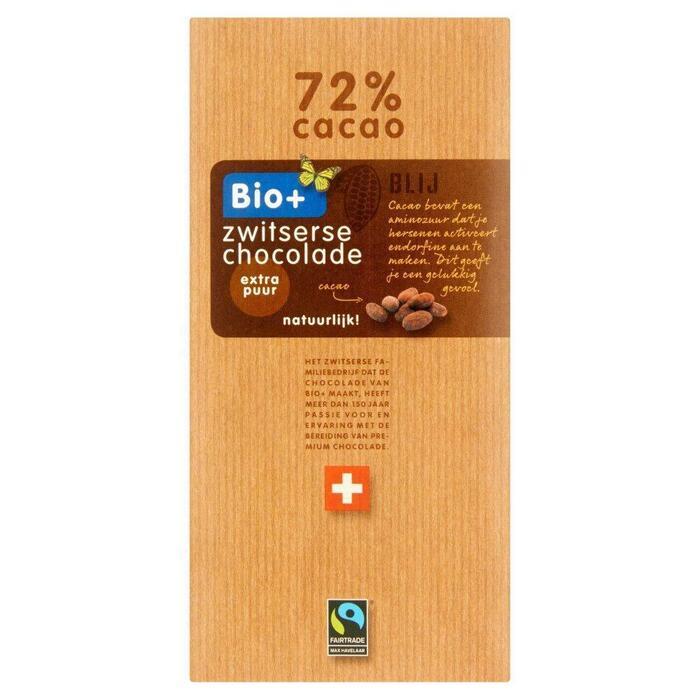 Zwitserse chocolade Puur 72% cacao (Stuk, 100g)