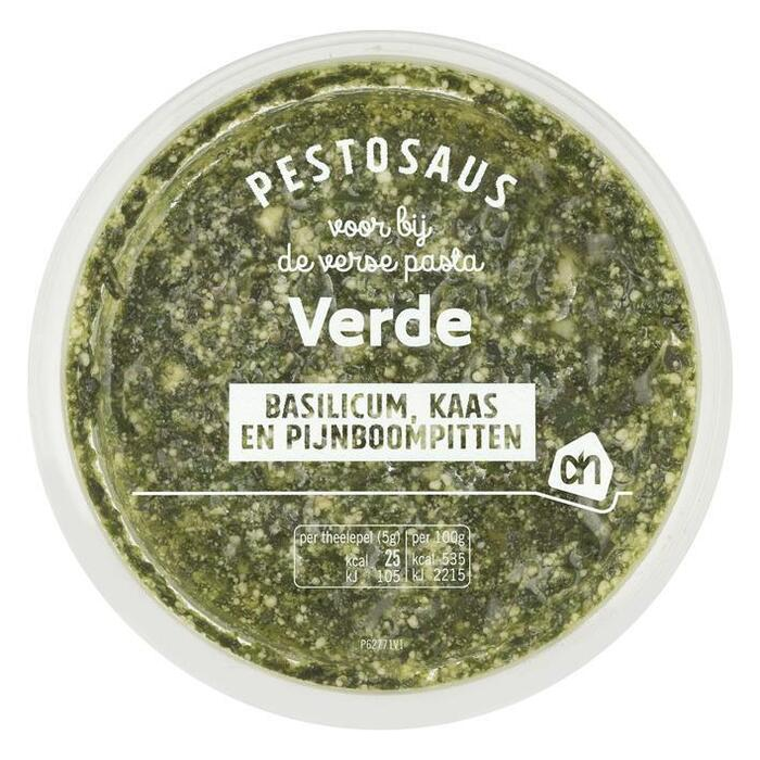 Smeuïge groene pesto met basilicum, kaas een pijnboompitten (bak, 125g)