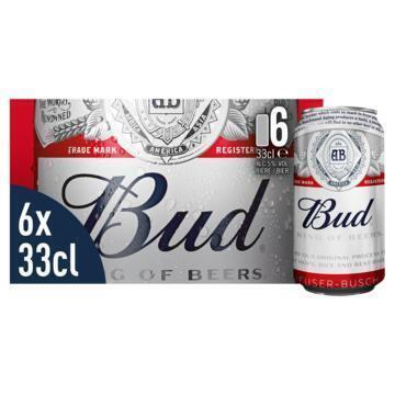 BUD CAN 6 x 33 cl DOLLY BUDGADM (rol, 6 × 33cl)
