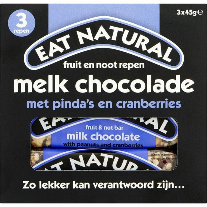 Eat Natural Fruit en noot repen melk chocolade (3 × 45g)