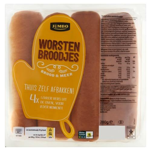 Jumbo Worsten Broodjes 4 Stuks 280g (280g)