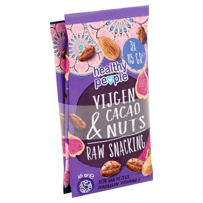 Healthy People Vijgen Cacao & Nuts Raw Snacking 3 x 45 g (3 × 45g)