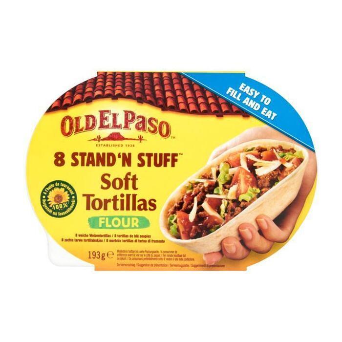 Old El Paso Stand'n Stuff Zachte Tarwe Tortillabakjes 8 Stuks 193g (193g)