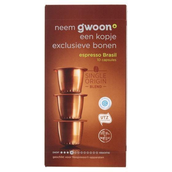 g'woon Capsules espresso brasil sterkte 4 (10 × 5g)