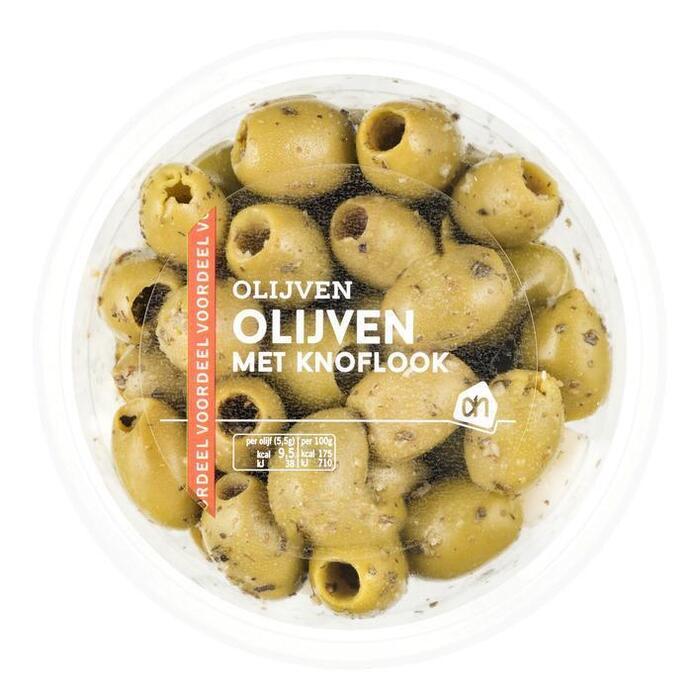 Groene olijven met knoflook (bak, 315g)
