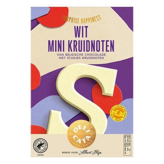 Delicata Chocoladeletter wit mini kruidnoten (65g)