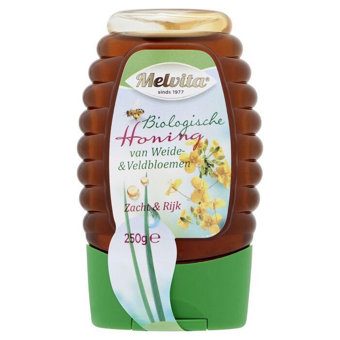 Bio bloemen honing vloeibaar knijpfles (250g)