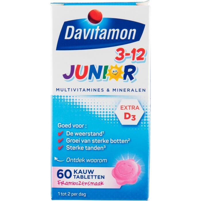 Davitamon Junior 3+ KauwVitamines Framboos Kauwtabletten 60 Stuks 52g (60 × 52g)