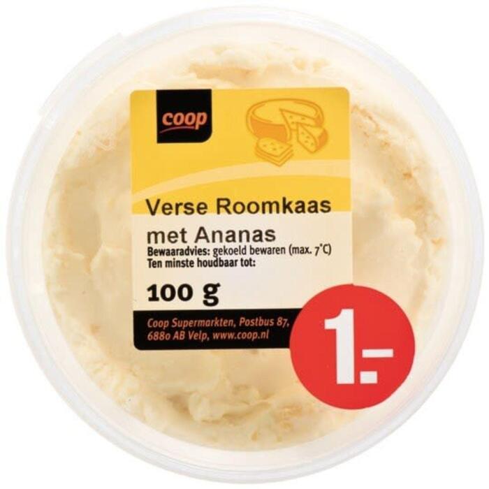 COOP Kuipje Verse Roomkaas met Ananas 100g (100g)