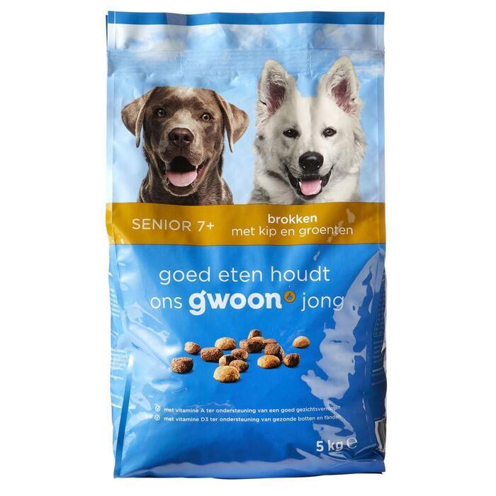 g'woon Hondenbrokken senior kip & groenten (5kg)