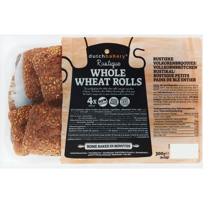 Dutch Bakery Rustique Whole Wheat Rolls 4 x 75 g (4 × 300g)