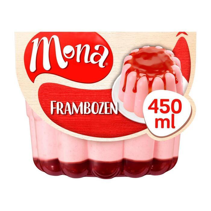Pudding framboos met rode bessessaus (450g)