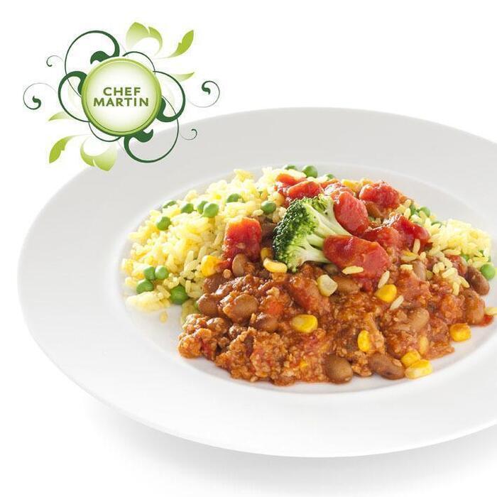 Chef Martin Chili sin carne en gele rijst en doperwt (488g)