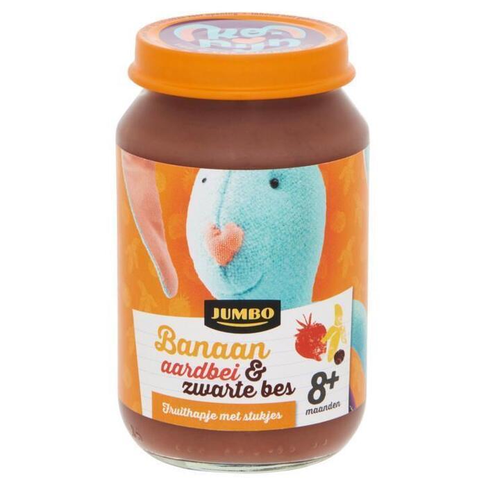 Jumbo Fruithapje met Stukjes Banaan Aardbei & Zwarte Bes 8+ Maanden 190g (190g)