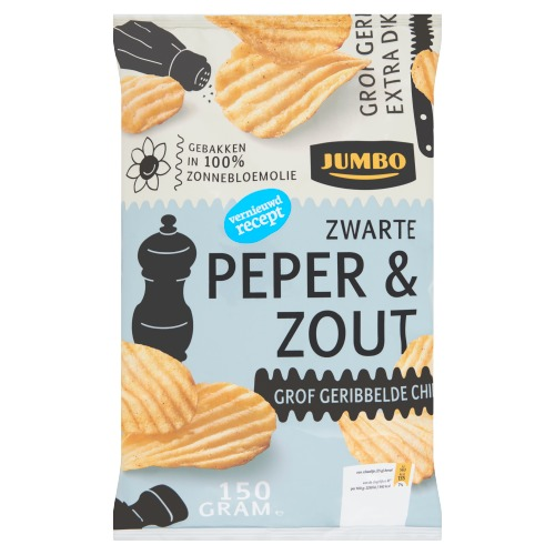 Jumbo Zwarte Peper & Zout Grof Geribbelde Chips 150 g (150g)