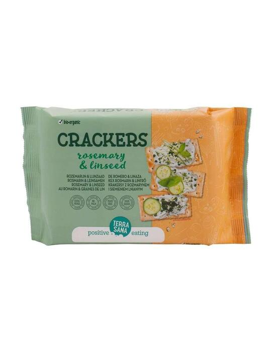 Crackers Rozemarijn en Lijnzaad - palmvetvrij TerraSana 160g (160g)