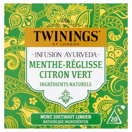 Twinings Infusion Ayurveda Munt Zoethout Limoen 20 Builtjes 30 g (30g)