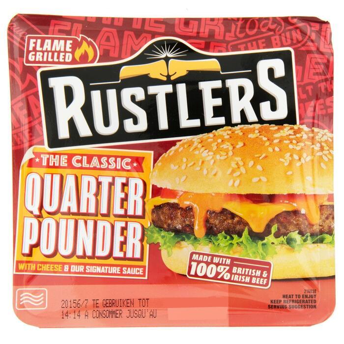 Rustlers Flame Grilled Quarter Pounder 190 g (Stuk, 190g)