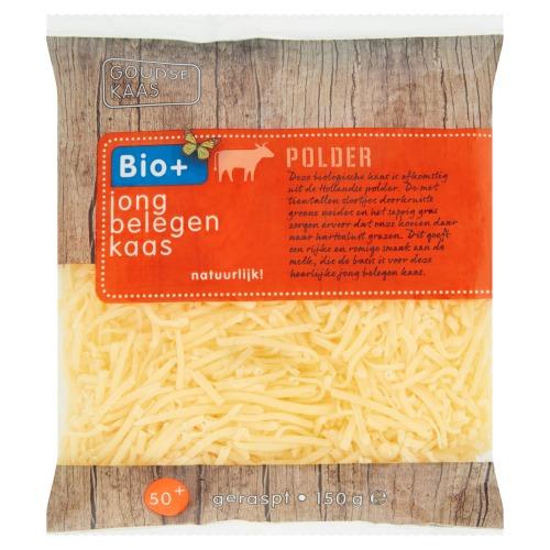 Biologische jong belegen geraspte kaas (zak, 150g)