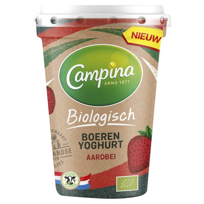 Campina Biologisch Boeren yoghurt Aardbei 1 l Pak met punt (450g)