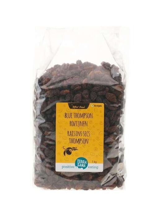 RAW Rozijnen Blue Thompson -voordeelpak- TerraSana 1kg (1kg)