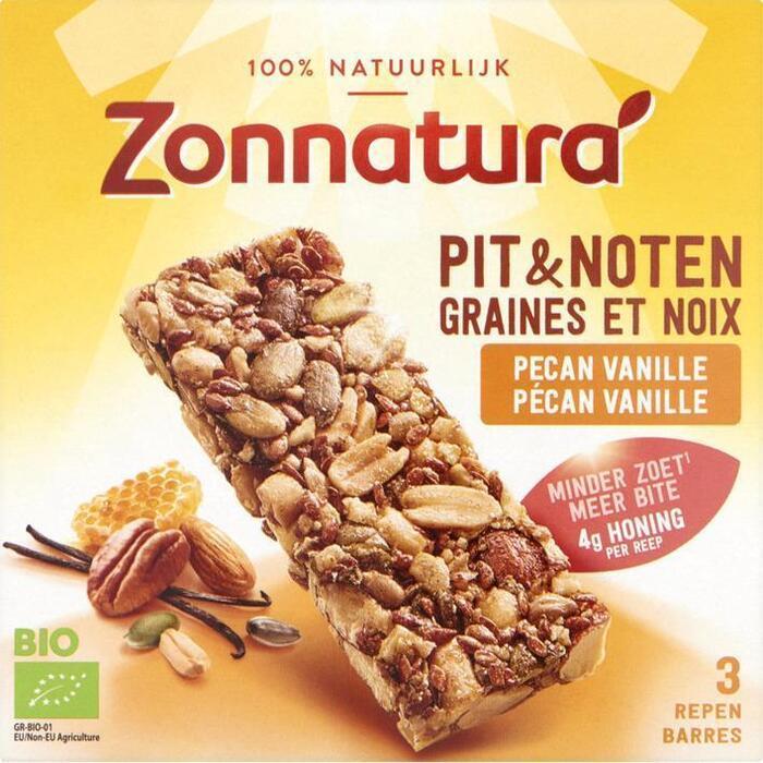 Zonnatura Pit & Notenreep Pecan Vanille 3 x 25g (3 × 75g)
