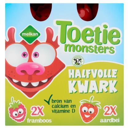 Toetiemonsters Halfvolle Kwark Framboos en Aardbei 4 x 90 g (4 × 90g)