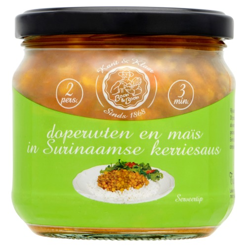 Doperwten en Maïs in Surinaamse kerriesaus 350g Pot (350g)